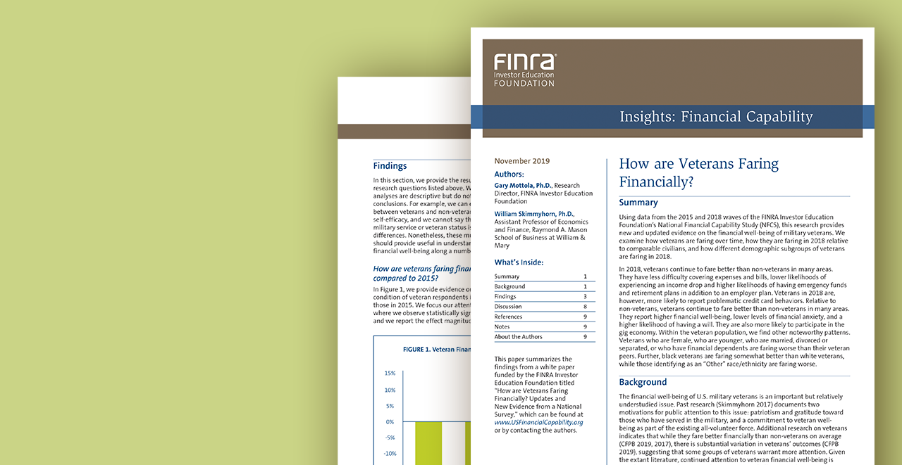 Issue Brief: How are Veterans Faring Financially?
